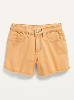 Extra High-Waisted Pop-Color Cut-Off Jean Shorts for Girls