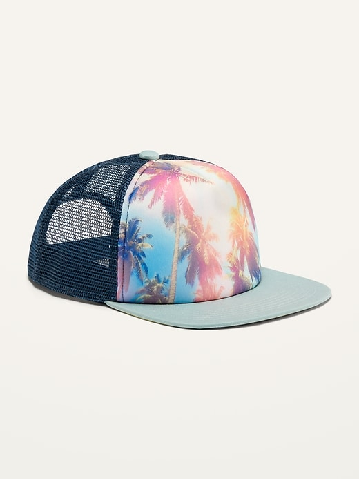 Gender-Neutral Graphic Flat-Brim Trucker Hat for Kids