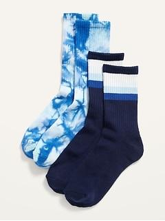 Gender-Neutral 2-Pack Rib-Knit Crew Socks for Kids