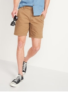 Straight Lived-In Khaki Non-Stretch Shorts for Men - 10-inch inseam