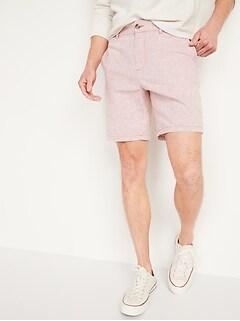 Slim Ultimate Micro-Stripe Linen-Blend Shorts for Men -- 8-inch inseam