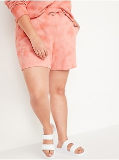 Extra High-Waisted Tie-Dyed Plus-Size Sweat Shorts -- 5.5-inch inseam
