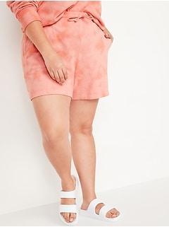 Short en molleton teint par nœuds à taille très haute, entrejambe de 14cm