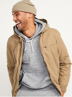 Hooded Canvas Flannel-Lined Utility Jacket for Men