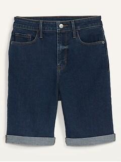 High-Waisted Dark-Wash Cuffed Bermuda Jean Shorts for Women -- 9-inch inseam