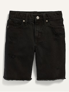 Gender-Neutral Non-Stretch Ripped Black Cut-Off Jean Shorts for Kids