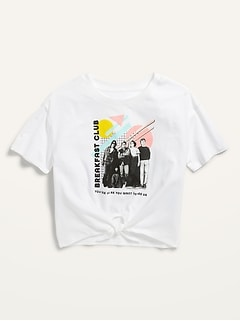 Pop-Culture Graphic Tie-Front Tee for Girls