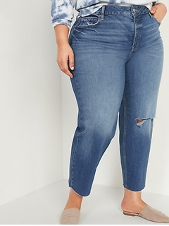 Extra High-Waisted Secret-Slim Pockets Sky Hi Straight Plus-Size Button-Fly Ripped Jeans