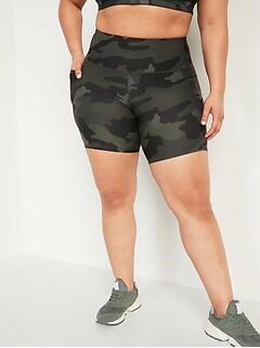 Short Elevate Powersoft à taille haute et poches latérales, Taille forte; entrejambe de 20cm