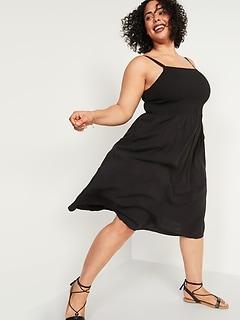 Smocked Fit & Flare Cami Plus-Size Midi Dress