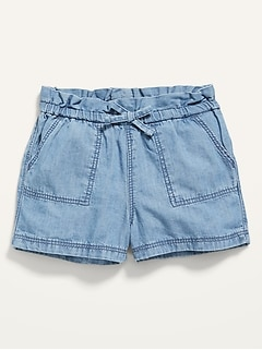Pull-On Chambray Utility Shorts for Baby