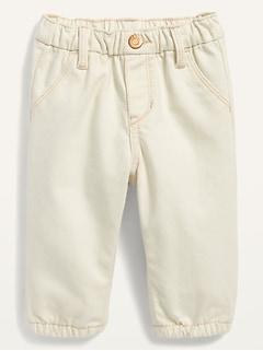 Unisex Garment-Washed Pull-On Jean Joggers for Baby