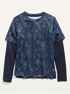 T-shirt Go-Dry Performance 2en1 à imprimé camouflage pour Garçon