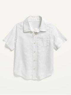 Chemise en mélange de lin à manches courtes et à poche pour Tout-petit garçon