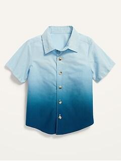 Short-Sleeve Non-Stretch Dip-Dye Shirt for Toddler Boys