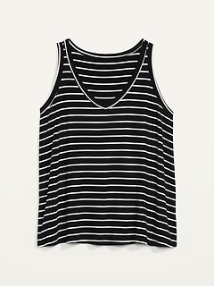 Luxe Striped Plus-Size V-Neck Tank Top
