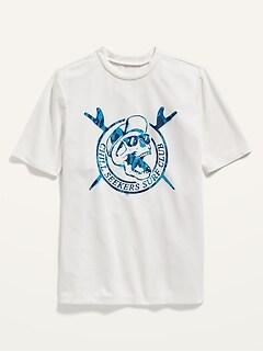Haut de maillot en maille anti-UV à imprimé à manches courtes pour Garçon
