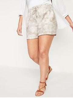 High-Waisted Printed Linen-Blend Shorts for Women -- 4-inch inseam