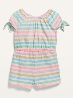 Printed Tie-Sleeve Romper for Toddler Girls