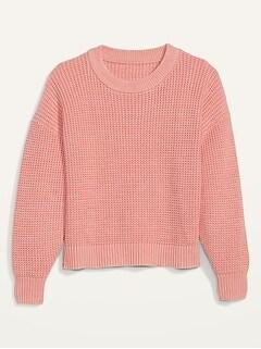 Acid-Wash Shaker-Stitch Sweater for Women