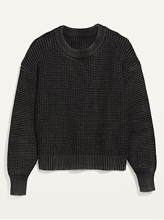 Acid-Wash Shaker-Stitch Sweater for Women
