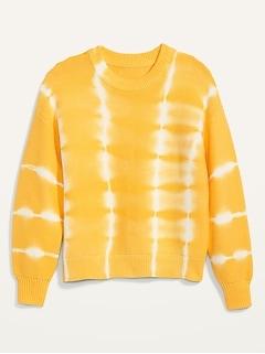Tie-Dye Stripe Textured Crew-Neck Sweater for Women