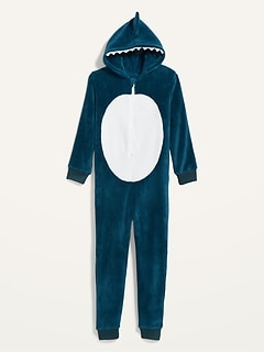 Gender-Neutral Hooded Shark Pajama One-Piece for Kids