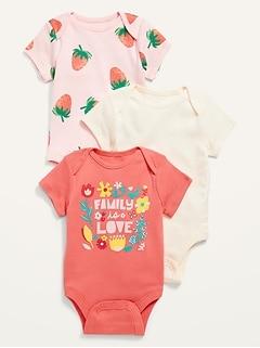 3-Pack Short-Sleeve Bodysuit for Baby