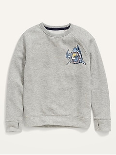 Vintage Shark-Graphic Pullover Sweatshirt for Boys