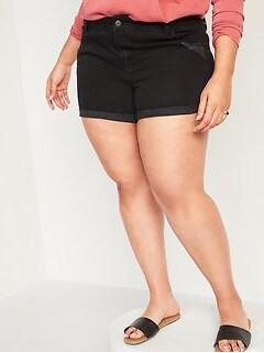 Mid-Rise Boyfriend Plus-Size Black Ripped Jean Shorts -- 5-inch inseam