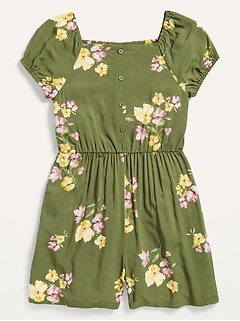 Puff-Sleeve Square-Neck Romper for Girls