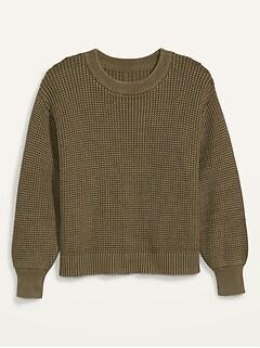 Acid-Wash Shaker-Stitch Plus-Size Sweater