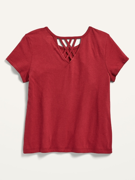 Short-Sleeve Lattice-Back Graphic Tee for Girls