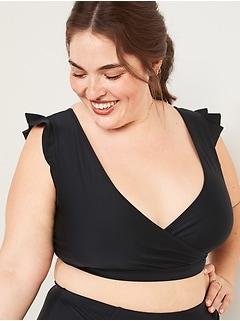 V-Neck Flutter-Sleeve Plus-Size Swim Top
