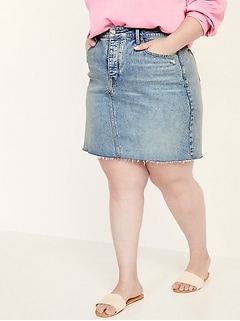 High-Waisted Secret-Slim Pockets Button-Fly Plus-Size Cut-Off Jean Skirt
