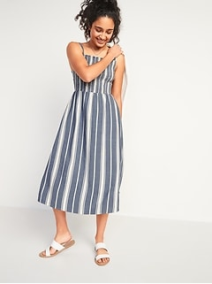 Smocked Fit & Flare Striped Cami Midi Dress for Women