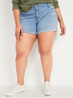 Mid-Rise Ripped Light-Wash Boyfriend Plus-Size Jean Shorts -- 5-inch inseam