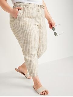Pantalon court droit à taille haute en mélange de lin teint par nœuds, taille forte