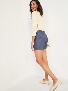 Short quotidien en chambray en mélange de lin à taille haute pour Femme, entrejambe de 13cm