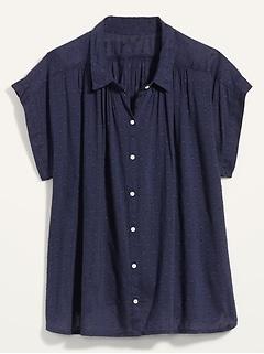 Oversized Textured Clip-Dot Short-Sleeve Shirt for Women