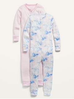 Unisex Printed One-Piece Pajamas 2-Pack for Toddler & Baby