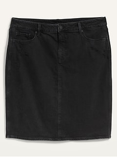 Extra High-Waisted Secret-Slim Pockets Ripped Plus-Size Jean Skirt