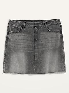 Jupe en denim coupée à taille haute et poches minceur, taille forte