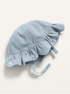 Scallop-Trim Chambray Bucket Hat for Baby