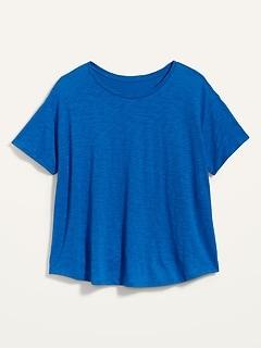 Loose Slub-Knit Easy Plus-Size V-Neck Tee