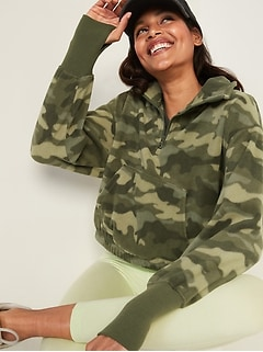 Loose Quarter-Zip Micro Performance Fleece Sweatshirt for Women