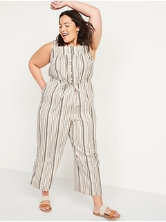 Tie-Waist No-Peek Striped Plus-Size Sleeveless Jumpsuit