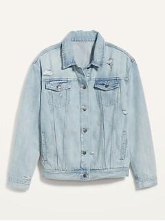 Boyfriend Ripped Light-Wash Jean Jacket for Women