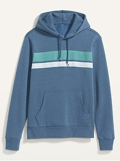Chest-Stripe Pullover Hoodie for Men