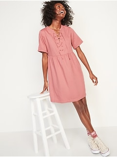Lace-Up Twill Shift Dress for Women